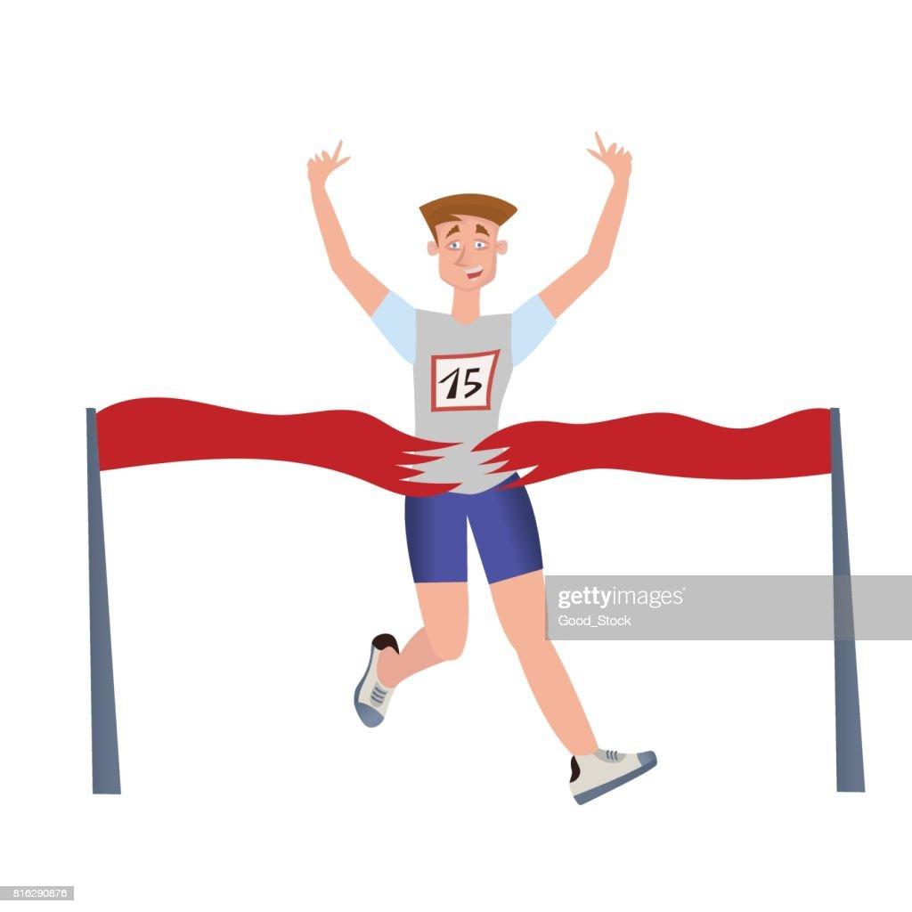 Finishing runner man. Athlete, marathon winner. Vector illustration, isolated on white.