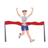 Finishing runner man. Athlete, marathon winner. Vector illustration, isolated on white.