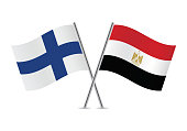 Finland and Egypt flags. Vector illustration.