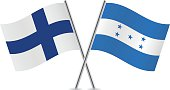 Finland and Honduras flags. Vector.