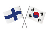 Finland and South Korea flags. Vector illustration.