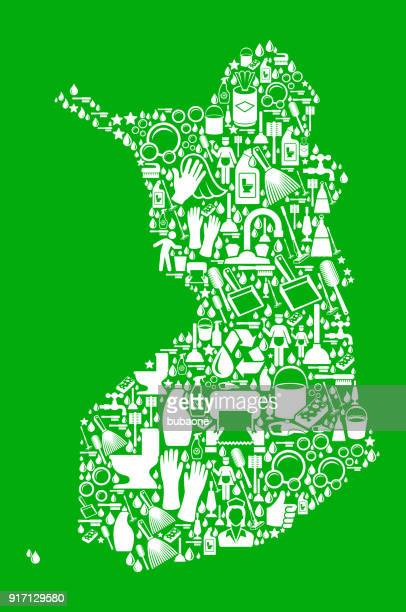 Finland reinigings- en klusjes groene Vector Icon patroon