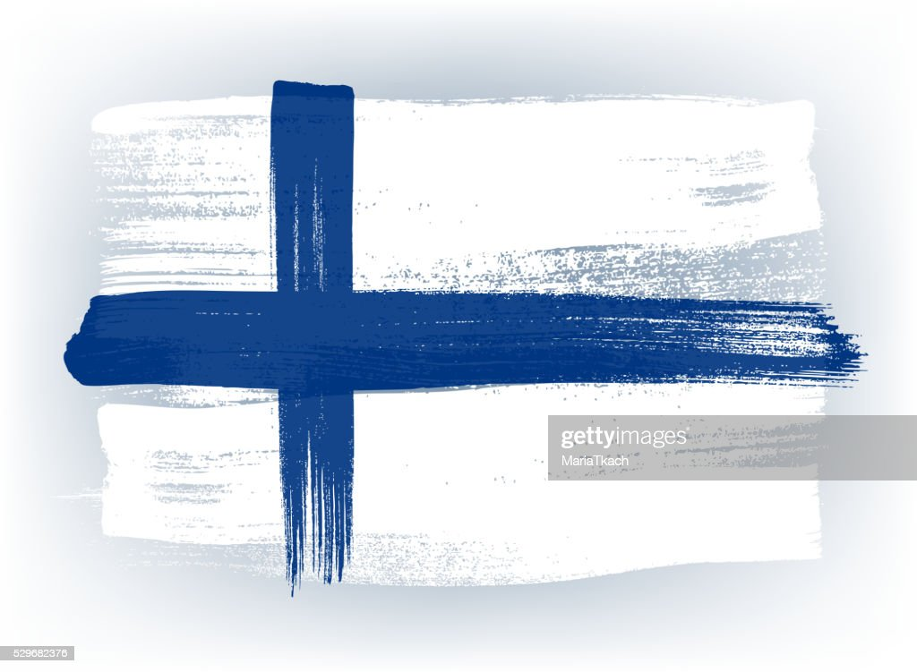 Finland colorful brush strokes painted flag
