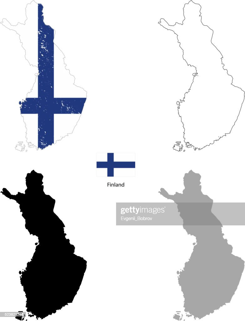 Finland country black silhouette and with flag on background