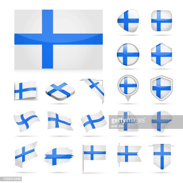 finland - flag icon glossy vector set - helsinki stock illustrations, clip art, cartoons, & icons