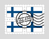 Finland flag on postage stamps