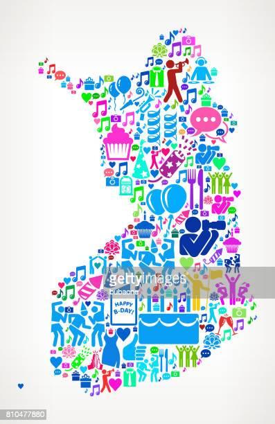 Finland Happy Birthday Celebration vektor ikonen mönster