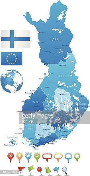 stockillustraties, clipart, cartoons en iconen met finland - highly detailed map - turku finland