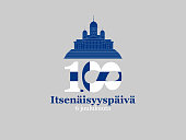 Finland, Independence Day greeting card. Translation from Finnish: December 6, Independence Day