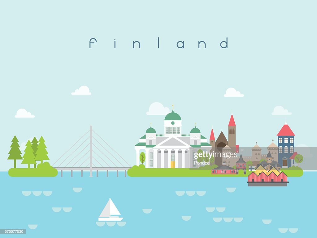 Finland Landmarks Travel and Journey Vector