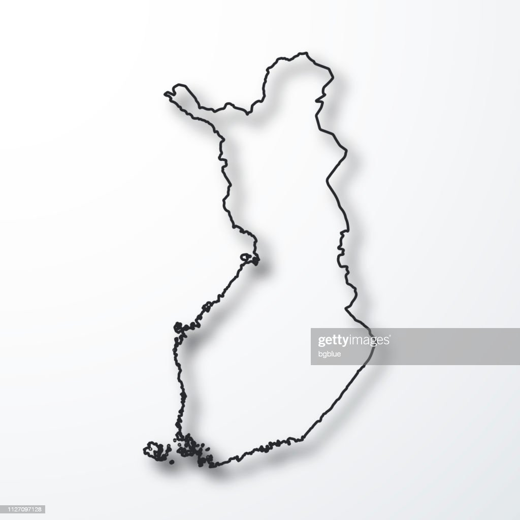 Finland Map Black Outline With Shadow On White Background ...