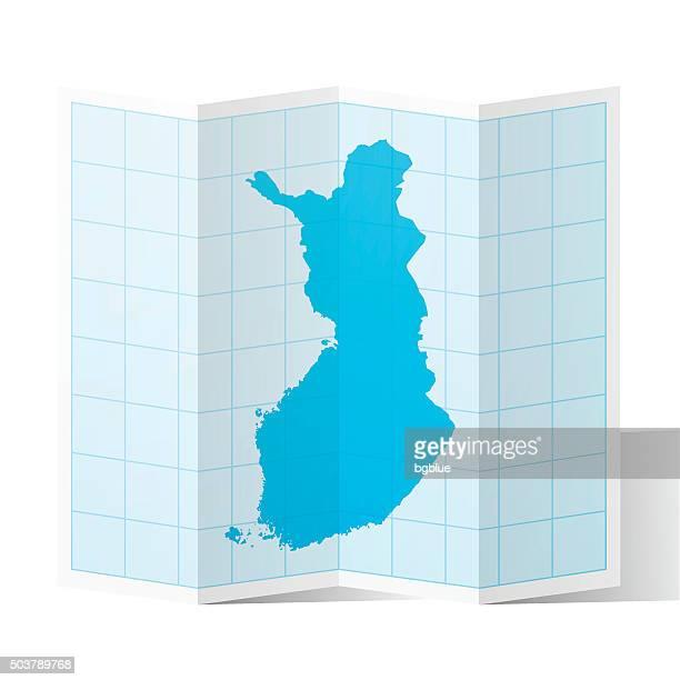 finland map folded, isolated on white background - helsinki stock illustrations, clip art, cartoons, & icons