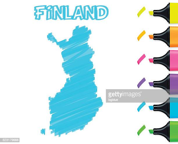 finland map hand drawn on white background, blue highlighter - helsinki stock illustrations, clip art, cartoons, & icons
