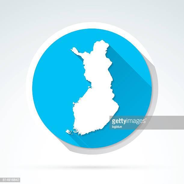finland map icon, flat design, long shadow - helsinki stock illustrations, clip art, cartoons, & icons