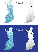 Finland map in geometric polygonal style. Abstract gems triangle.