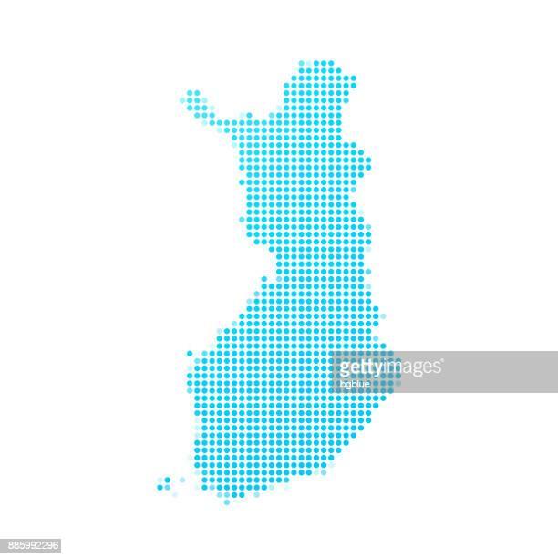 stockillustraties, clipart, cartoons en iconen met finland kaart van blauwe stippen op witte achtergrond - finland