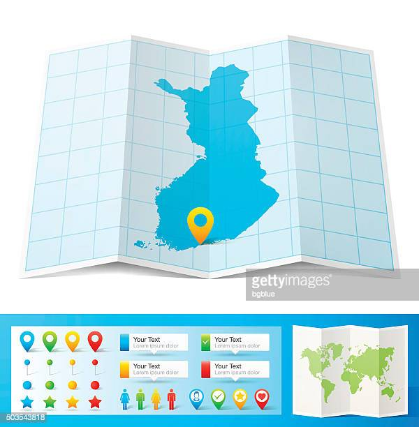 finland map with location pins isolated on white background - helsinki stock illustrations, clip art, cartoons, & icons