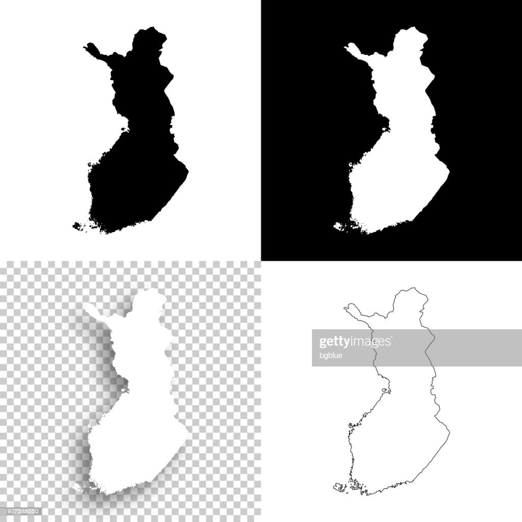 Finland maps for design - Blank, white and black backgrounds