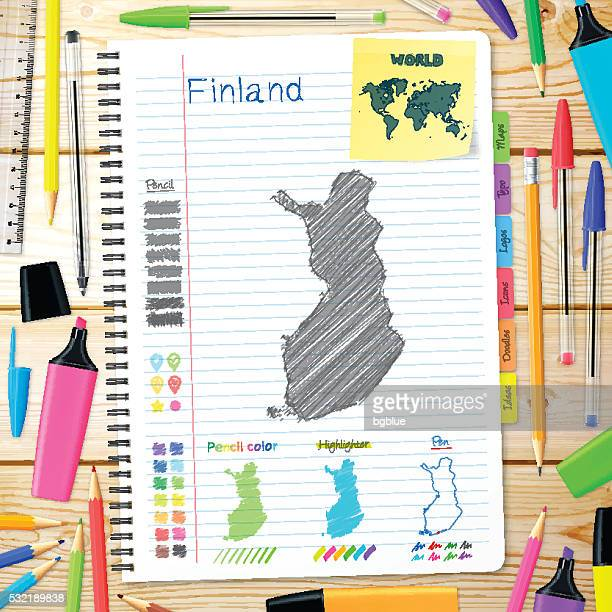 finland maps hand drawn on notebook. wooden background - helsinki stock illustrations, clip art, cartoons, & icons