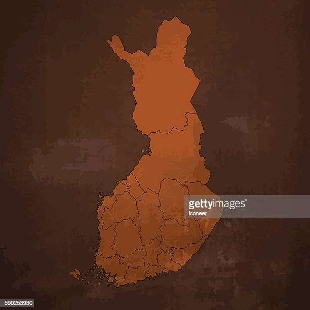 finland old rusty map on dirty metal brown background - country geographic area stock illustrations, clip art, cartoons, & icons