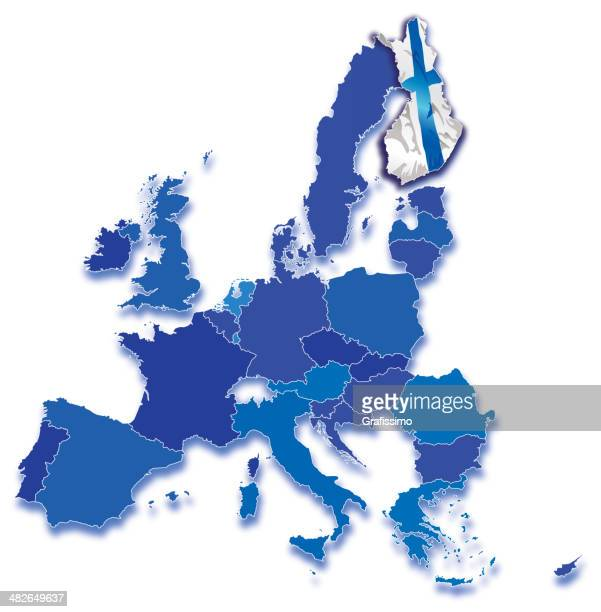finland on map of europe with all countries - central europe stock illustrations, clip art, cartoons, & icons