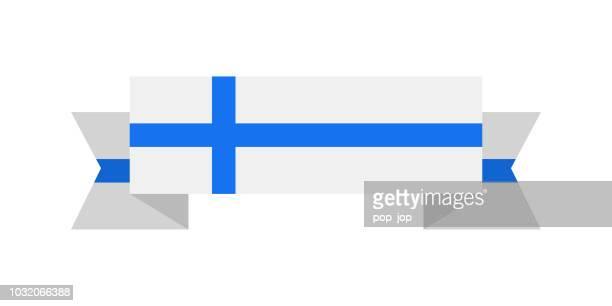 finland - ribbon flag vector flat icon - helsinki stock illustrations, clip art, cartoons, & icons