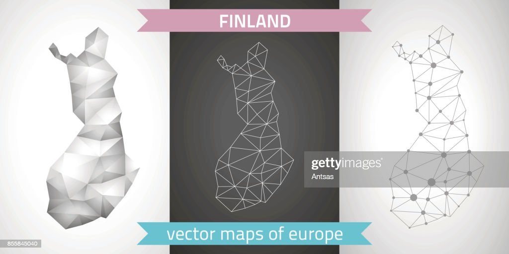 Finland. Set graphic vector maps of Finland, polygonal, grey, mosaic, triangle illustrations