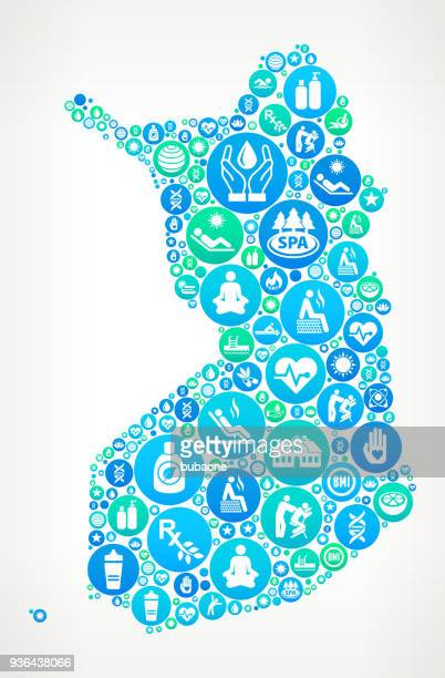 finland spa and wellness vector icon pattern - leisure facilities stock illustrations, clip art, cartoons, & icons