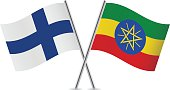 Finnish and Ethiopian flags. Vector.