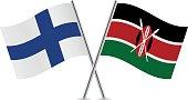 Finnish and Kenyan flags. Vector.