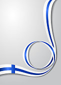 Finnish flag wavy background. Vector illustration.