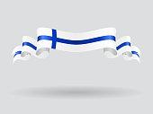 Finnish wavy flag. Vector illustration.