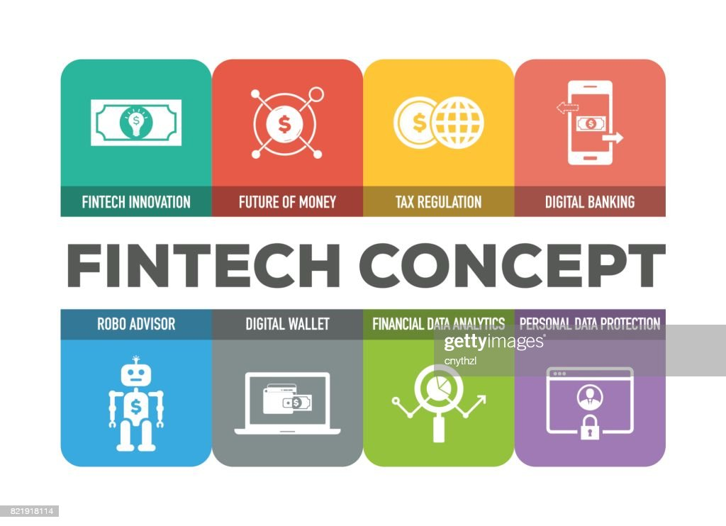 Fintech Concept Colorful Icons Set : stock illustration