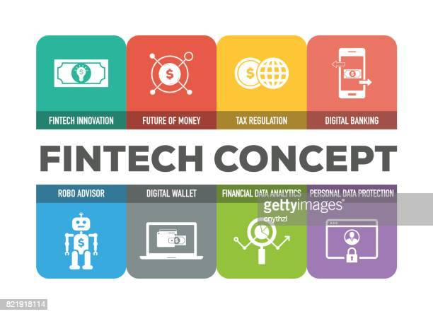 fintech concept colorful icons set - financial technology stock illustrations, clip art, cartoons, & icons