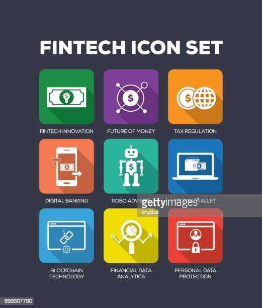 fintech flat icon set - financial technology stock illustrations, clip art, cartoons, & icons