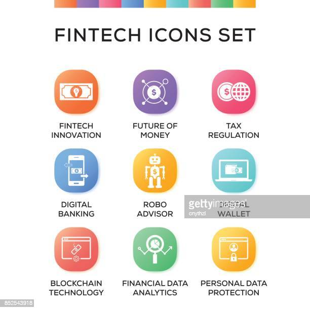 fintech icons set on gradient background - financial technology stock illustrations, clip art, cartoons, & icons