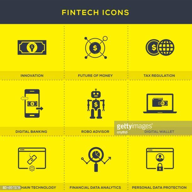 fintech icons set - financial technology stock illustrations, clip art, cartoons, & icons