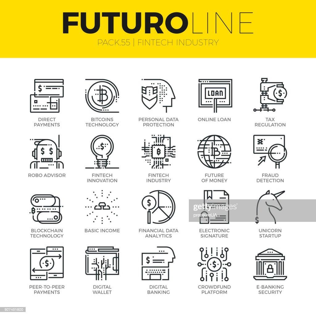 Fintech Industry Futuro Line Icons