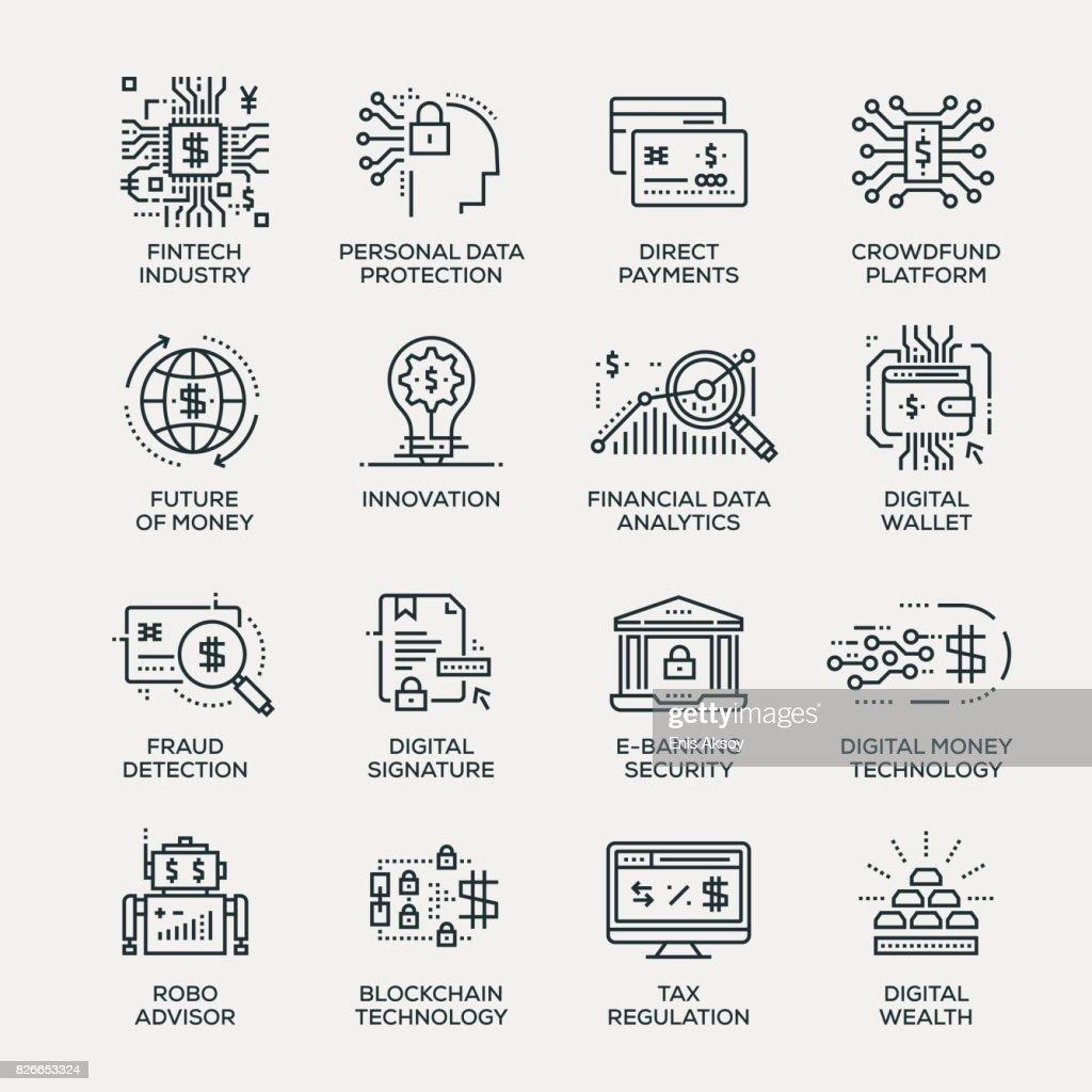 Fintech indústria Icon Set - linha série : Ilustração
