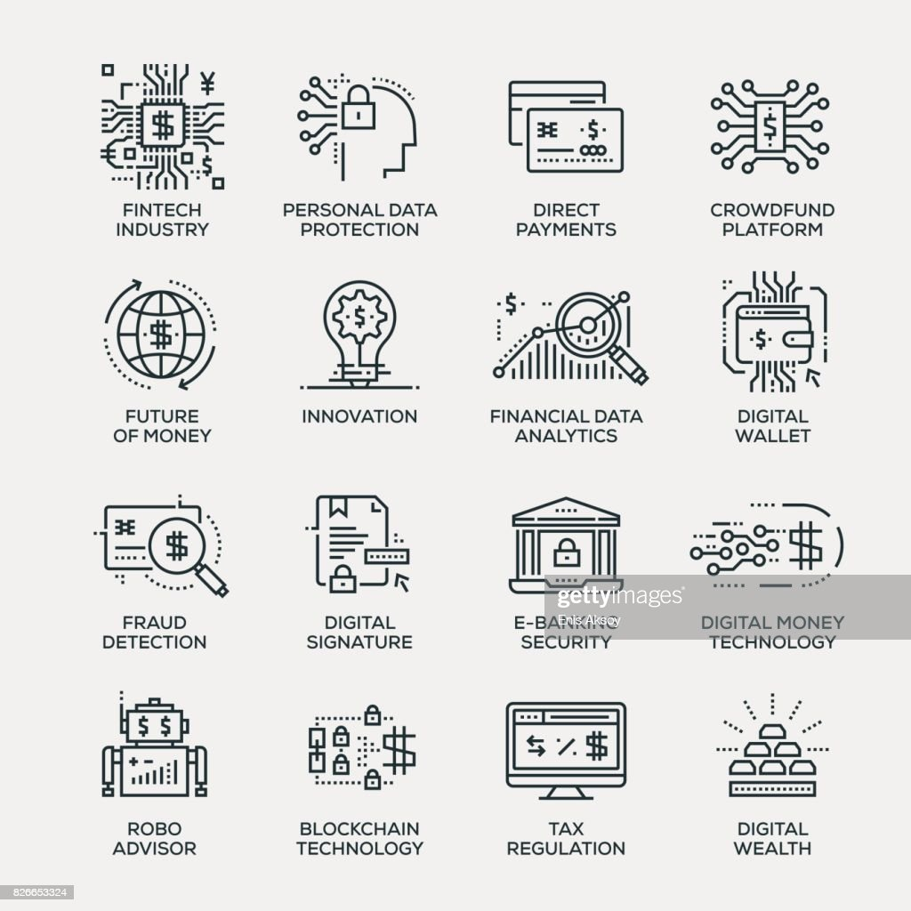 Fintech Industry Icon Set - Line Series