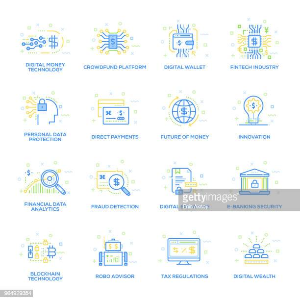 fintech industry icon set - financial technology stock illustrations, clip art, cartoons, & icons
