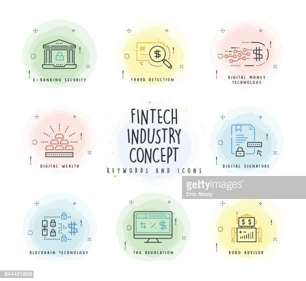 Fintech Industry Line Icon Set with Watercolor Patch
