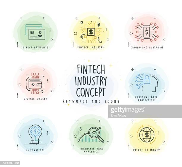 fintech industry line icon set with watercolor patch - financial technology stock illustrations, clip art, cartoons, & icons