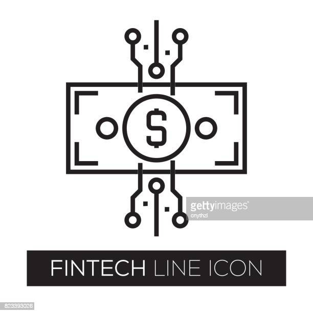fintech line icon - financial technology stock illustrations, clip art, cartoons, & icons