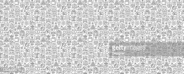 フィンテック関連のシームレスなパターンと背景とラインアイコン - クラウドソーシング点のイラスト素材/クリップアート素材/マンガ素材/アイコン素材
