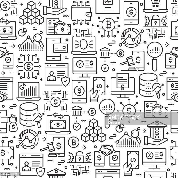 fintech related seamless pattern and background with line icons. editable stroke - financial technology stock illustrations