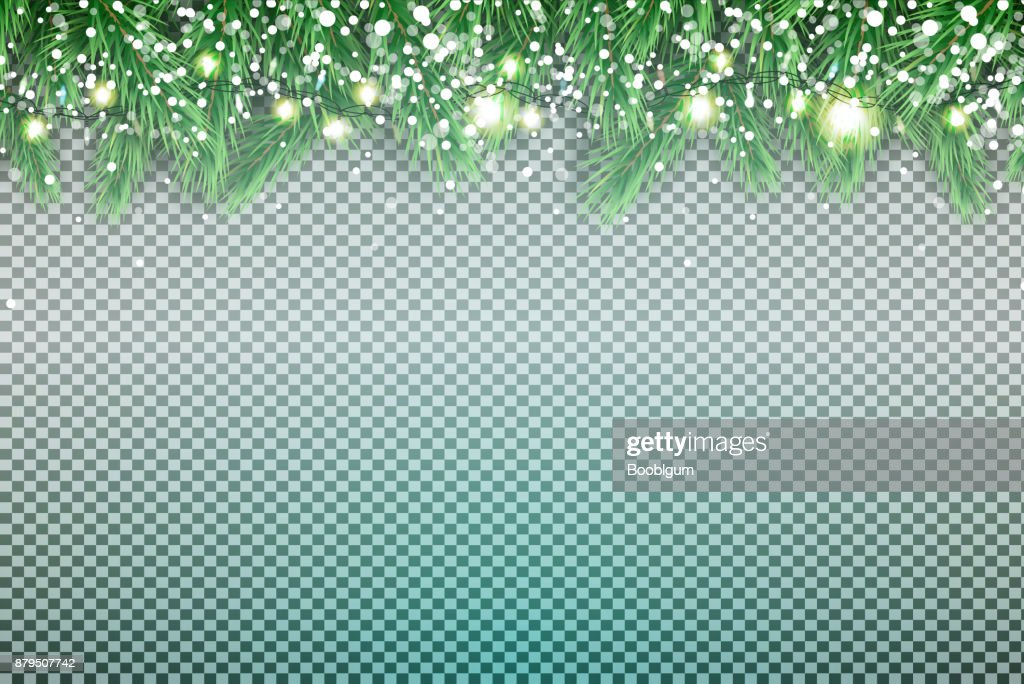 Fir Branch with Neon Lights and Snowflakes on Transparent Background.
