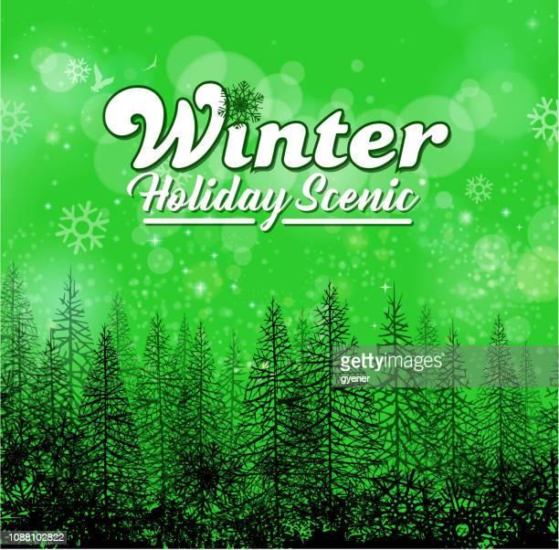 fir tree landscape - winter sports event stock illustrations