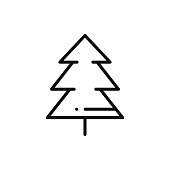 Fir Tree Line Icon. Spruce Forest. Hiking Sign and Symbol.