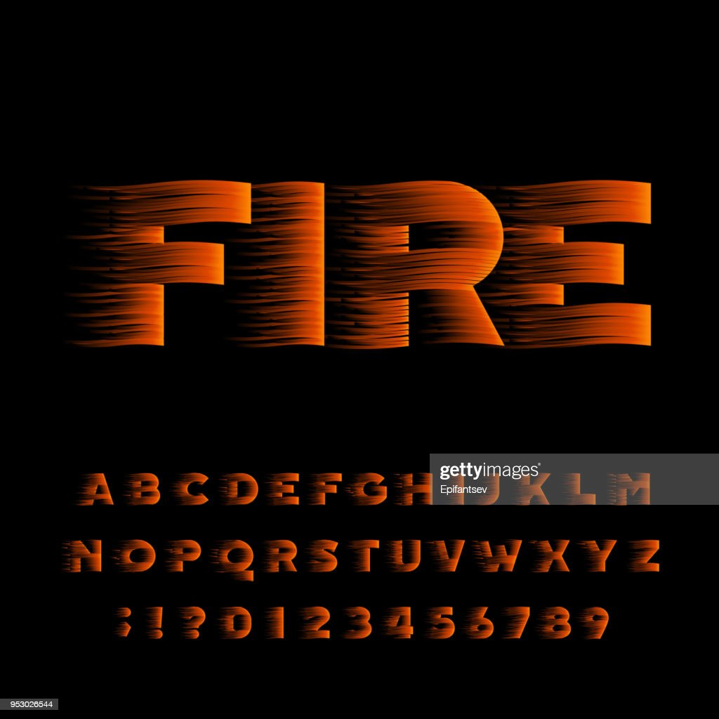Fire alphabet font. Flame effect bold type letters.